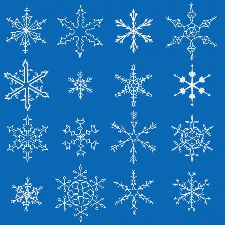Snowflake winter icons. Set of snow flake symbols.