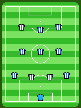 Soccer field illustration. Football tactics and strategy - popular 4-3-3 team formation.