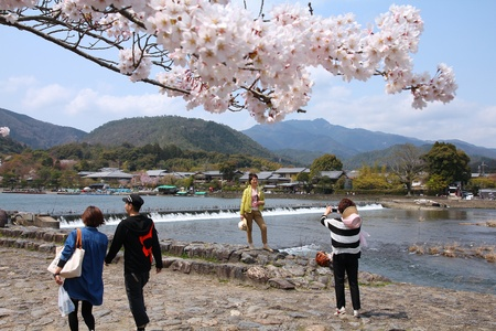 KYOTO, JAPAN - APRIL 17: Visitors take a photo on April 17, 2012 in Arashiyama, Kyoto, Japan. Arashiyama is a nationally-designated Place of Scenic Beauty and Historic Site.