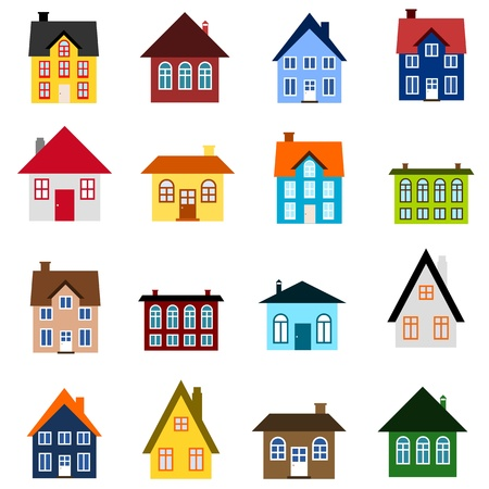 House set - colourful home icon collection. Illustration group. Private residential architecture.
