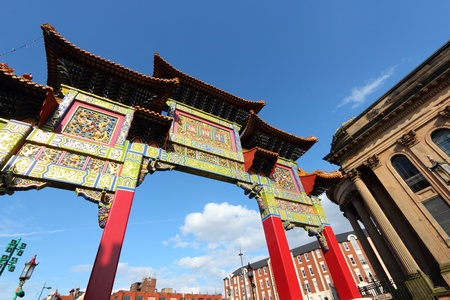 Liverpool - city in Merseyside county of North West England (UK). Famous Chinatown gate.