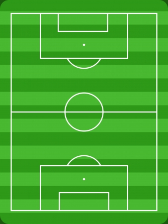 Football field diagram with white lines and green grass. Usable for drawing soccer team formations, strategy and tactics.