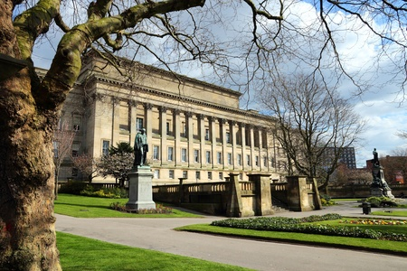 Liverpool - city in Merseyside county of North West England (UK). Saint John's Gardens and Saint George's Hall.