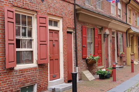 Philadelphia, Pennsylvania in the United States. Famous Elfreth's Alley historic district, old landmark.