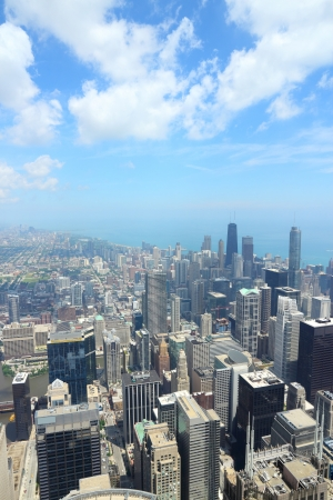 Chicago Illinois in the United States. City skyline with Lake Michigan.