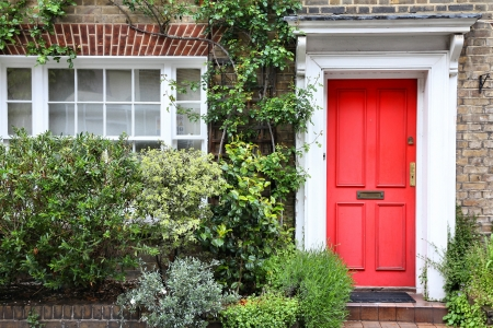London, United Kingdom - typical Victorian architecture door.