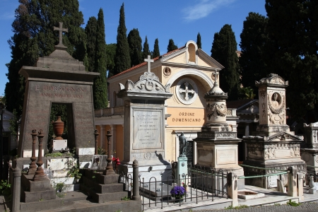 ROME - APRIL 9: Campo Verano cemetery on April 9, 2012 in Rome. It exists since 1812 and is one of largest cemeteries in Italy.