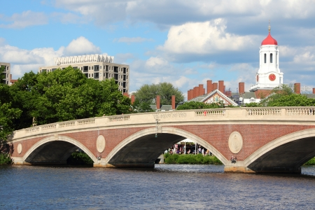 Cambridge, Massachusetts in the United States. Famous Harvard University campus with Charles River bridge.