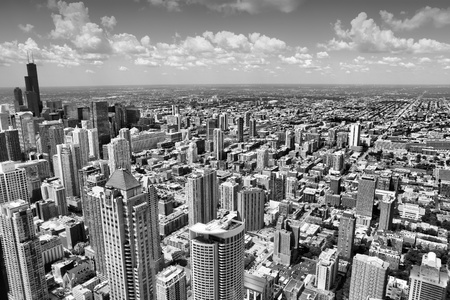 Chicago Illinois in the United States. City skyline with skyscrapers - black and white.