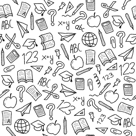 Seamless background with school object icon and symbols. Education background doodle.