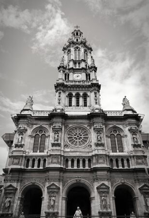 Paris, France - Saint Trinity Church in 9th arrondissement. Black and white tone - retro monochrome style.