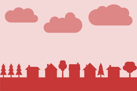 Small town vector silhouette with blank copy space. Village illustration.
