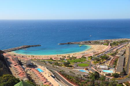Amadores beach, Gran Canaria, Spain. Tourist resort area.