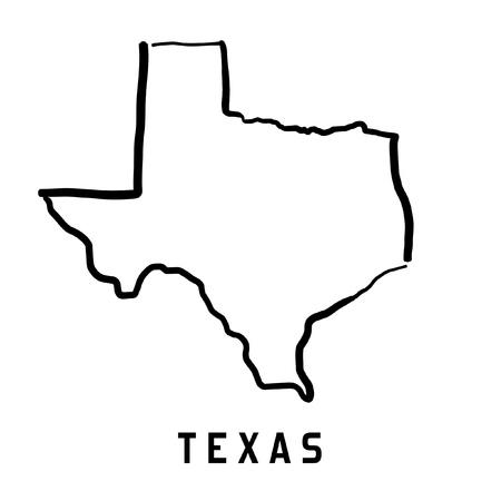 Ilustración de Texas map outline - smooth simplified US state shape map vector. - Imagen libre de derechos