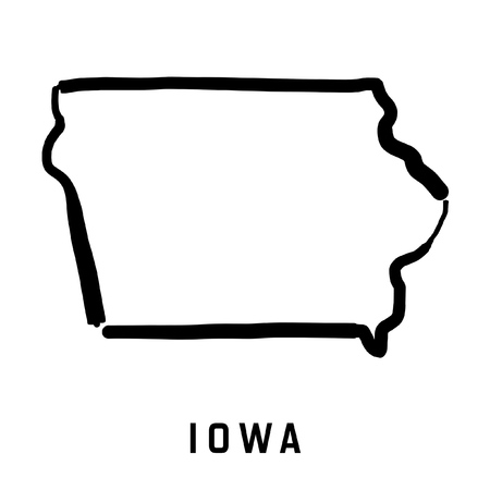 Illustration for Iowa state map outline - smooth simplified US state shape map vector. - Royalty Free Image