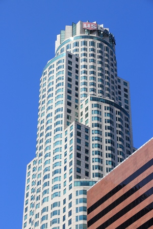 LOS ANGELES, USA - APRIL 5, 2014: US Bank Tower skyscraper in Los Angeles. The building is 310 m tall and is the tallest building in California.