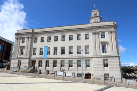 Barnsley, town in South Yorkshire, UK. Town hall building.