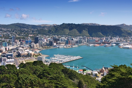 Wellington, New Zealand - city aerial view of marina and downtown skyscrapers.