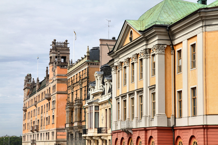 Stockholm, Sweden. Norrmalm borough, with colorful old architecture.