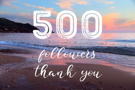 Photo pour 500 followers - social media milestone banner. Online community thank you note. 500 fans. - image libre de droit