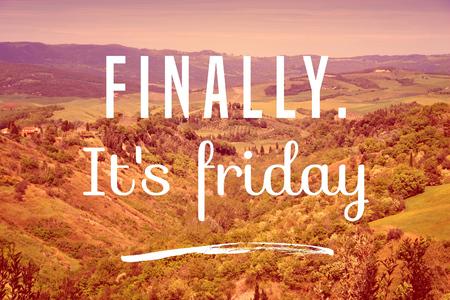Photo pour Finally it's Friday - weekend joy motivational poster. - image libre de droit