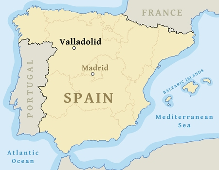 Map Of Spain Vector Free.Valladolid Map Location Locate City On Map Of Spain Vector