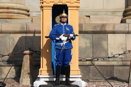 STOCKHOLM, SWEDEN - AUGUST 24, 2018: Royal Guard in Stockholm, Sweden. Royal Guards are responsible for protecting the Swedish Royal Family.