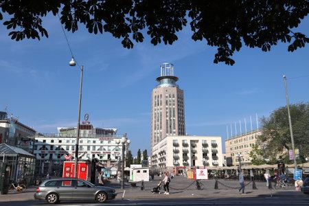 STOCKHOLM, SWEDEN - AUGUST 24, 2018: Morning view of Medborgar Square (Medborgarplatsen) in Sodermalm district of Stockholm, Sweden. Stockholm is the capital city and most populous area in Sweden.