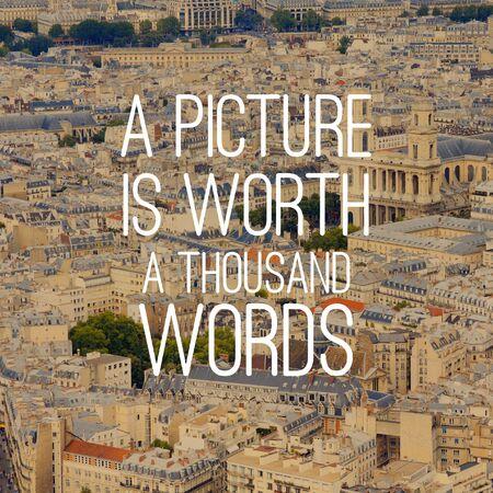 Foto für Picture is worth a thousand words. Motivational quote poster. Success motivation. - Lizenzfreies Bild