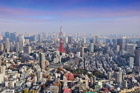 Photo pour Tokyo skyline - aerial city view with Roppongi and Minato wards. - image libre de droit