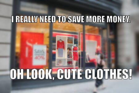 Photo pour Shopping funny meme for social media sharing. Money saving problems humor. - image libre de droit