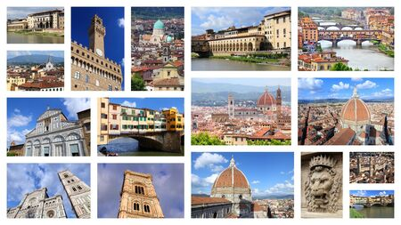 Photo pour Florence photos collage - Italy town landmark postcard collection. - image libre de droit