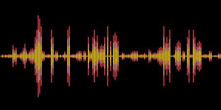Illustration pour Sound wave vector art. Electronic audio sound digital display. - image libre de droit