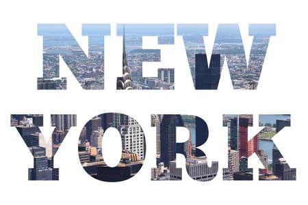 Photo pour New York sign - city name with background travel postcard photo. - image libre de droit