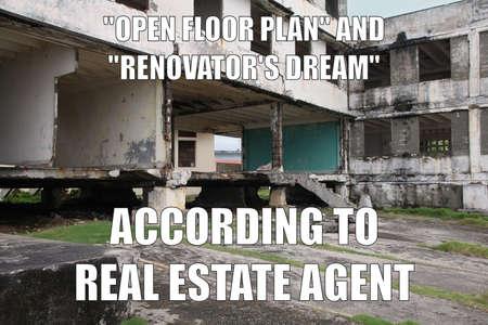 Photo pour Real estate funny meme for social media sharing. Real estate agency ad language euphemisms. - image libre de droit