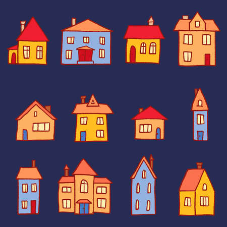 Illustration for Town homes vector collection. Cute cartoon style home set. - Royalty Free Image