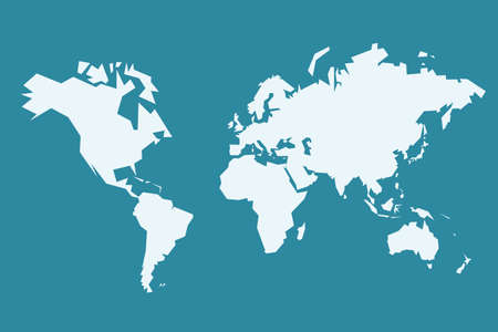 Illustration for World map vector. Sharp polygonal (low poly) geometric style simple vector. - Royalty Free Image