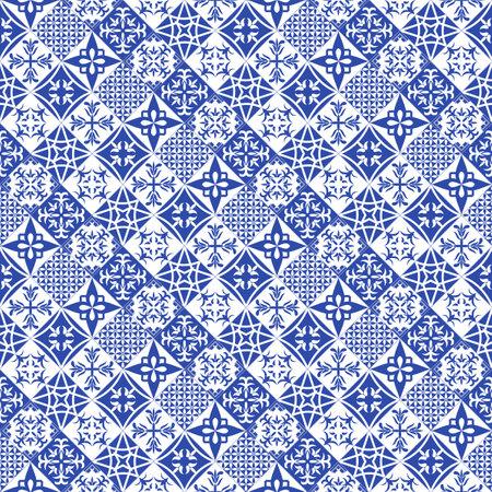 Illustration pour Portuguese style tiles background. Blue azulejos tiles from Portugal. - image libre de droit