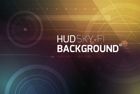 Cosmic HUD sci-fi interface vector abstract background. Science, disco, party. Print, video.