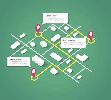 Isometric city map design elements. Vector eps 10