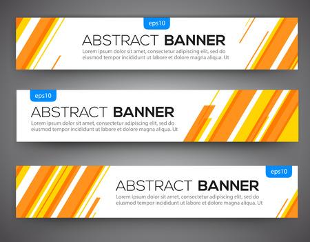 Ilustración de Abstract banner design, yellow and orange color line style. Vector - Imagen libre de derechos