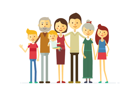 Foto de family portrait at the simple style. flat cartoon vector eps - Imagen libre de derechos