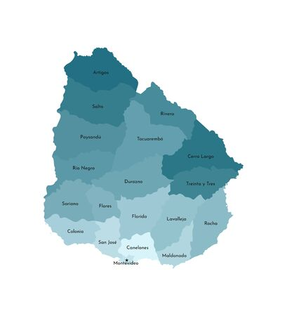 Vector isolated illustration of simplified administrative map of Uruguay. Borders and names of the departments (regions). Colorful blue khaki silhouettes