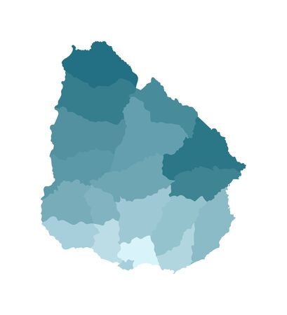 Vector isolated illustration of simplified administrative map of Uruguay. Borders of the departments (regions). Colorful blue khaki silhouettes.