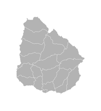 Vector isolated illustration of simplified administrative map of Uruguay. Borders of the departments (regions). Grey silhouettes. White outline.