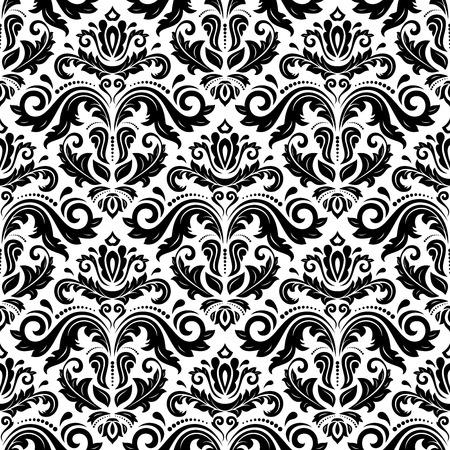 Illustration pour Oriental fine pattern with damask, arabesque and floral elements. Black and white colors - image libre de droit