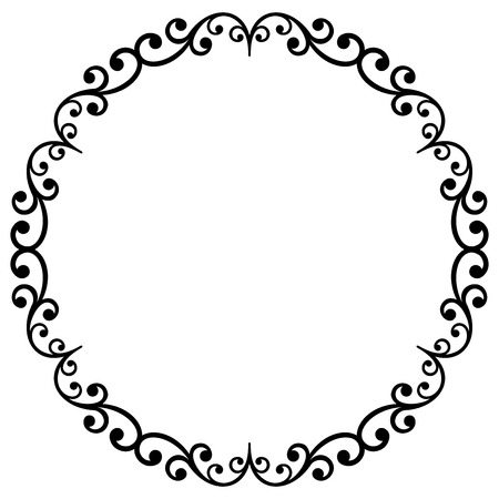 Ilustración de Oriental vector black and white round frame with arabesques and floral elements. Floral fine border. Greeting card with place for text - Imagen libre de derechos