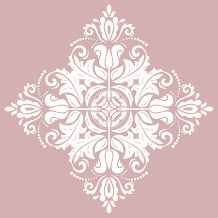 Ilustración de Oriental vector white square pattern with arabesques and floral elements. Traditional classic ornament. Vintage pattern with arabesques - Imagen libre de derechos