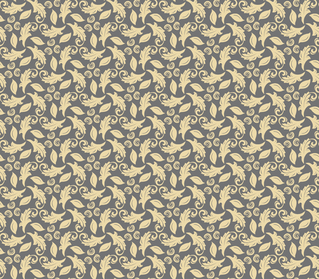 Floral vector ornament. Seamless abstract classic background with golen leaves. Pattern with repeating floral elements. Ornament for fabric, wallpaper and packaging