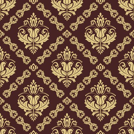 Illustration pour Orient vector classic brown and golden pattern. Seamless abstract background with vintage elements. Orient background. Ornament for wallpaper and packaging - image libre de droit